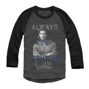 """camiseta com a imagem do ator, com os dizeres """"Continue sempre lutando"""""""